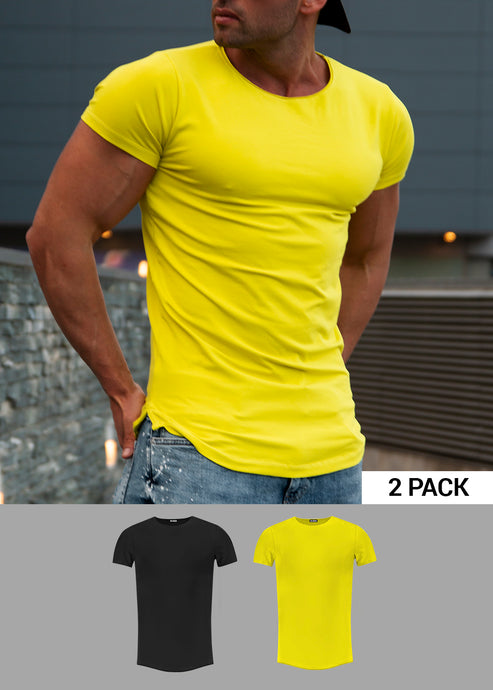 2 Pack Men's Plain Black and Electric Green  Round Neck T-shirts - Longline