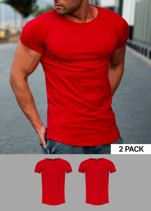 2 Pack Men's Plain RED Round Neck T-shirt - Longline