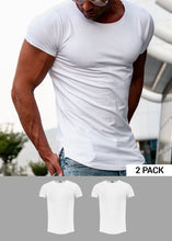 2 Pack Men's Plain White Round Neck T-shirt - Longline