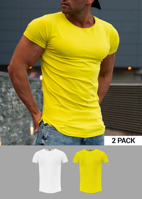 2 Pack Men's Plain White and Electric Green  Round Neck T-shirts - Longline