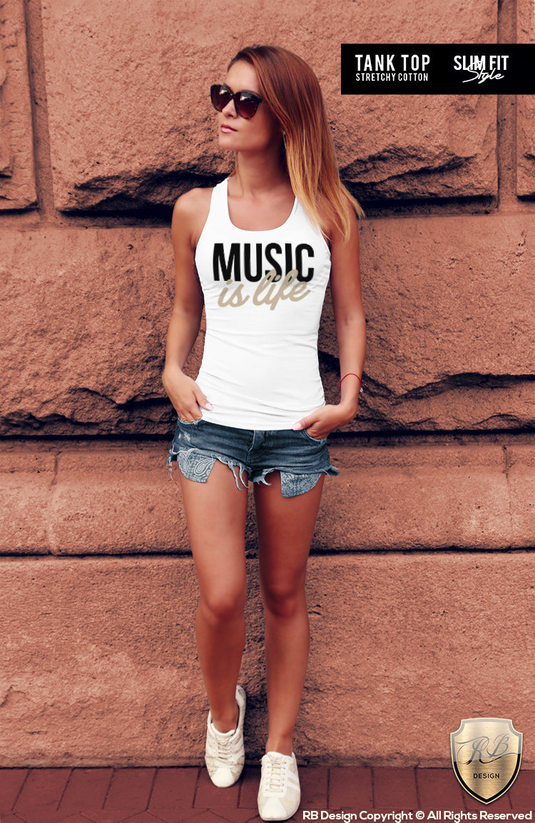 Music Is Life Ladies T-shirt Cool Festival Techno Lover Top