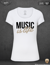 Music Is Life Ladies T-shirt Cool Festival Techno Lover Top WD310