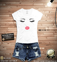 eyelashes lips shirt for ladies