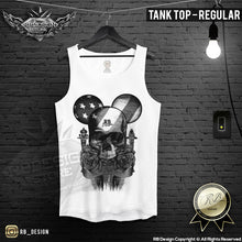 RB Design Mickey Skull Mens T-shirt BLACK Roses USA Flag Tank Top MD321 B
