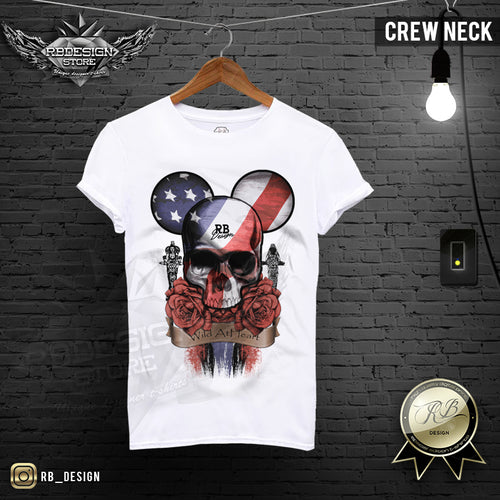RB Design Mickey Skull Mens T-shirt Roses USA Flag Tank Top MD321