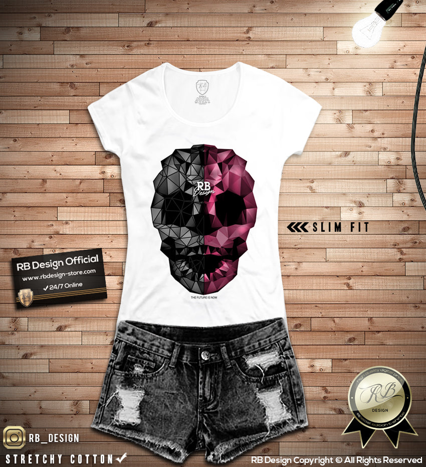 05b834c7 Abstract Designer Skull T-shirt Unique RB Design Top WD351 – RB ...