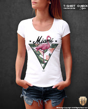 Miami Vibes Fresh Summer T-shirt Ladies Flamingo Graphic Top WD355