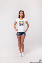 "Women's T-shirt ""True Love"" Cool Graphic Tee Rainbow Colors WD359"