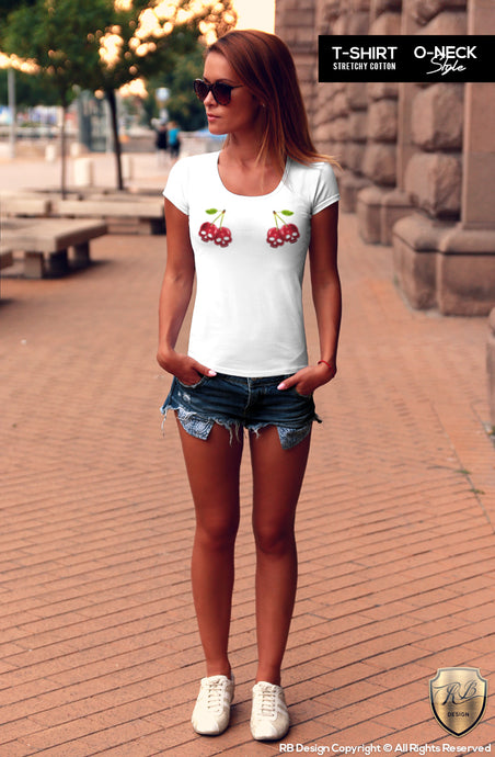 Cute Fancy Women's T-shirt Cherry Skull Print  WD365