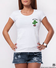 "Funny Women's Graphic T-shirt Cactus ""Free Hugs"" WD367 Pocket Style"