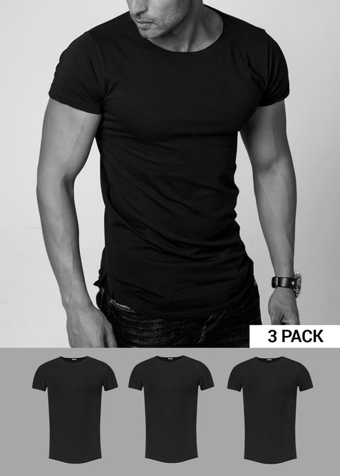 3 Pack Men's Plain Black Round Neck T-shirt - Longline