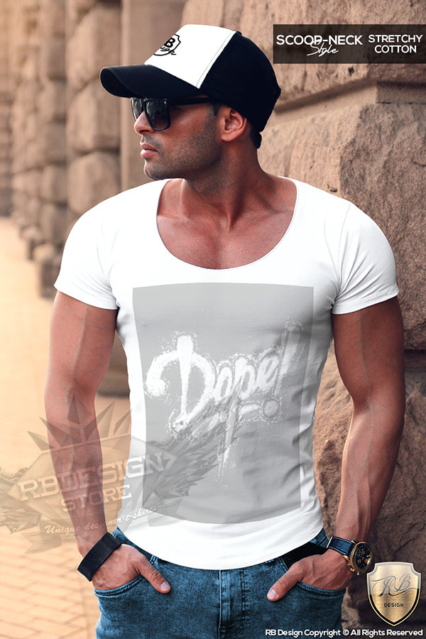 scoop neck muslce t-shirt