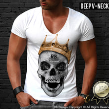 deep v neck skull t-shirt