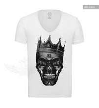 Mens White T-shirt Creepy Black Skull The Last King Top MD458