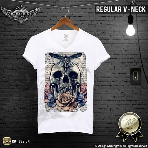 vintage skull mens graphic regular neck t-shirt