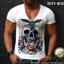 mens flower vintage skull deep v neck shirt