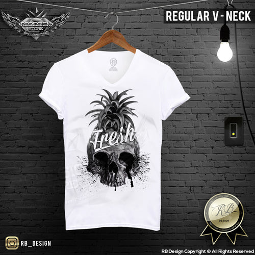 Pineapple Skull Men's  T-shirt Summer Fresh Slogan Tank Top MD486