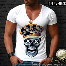 designer last king skull deep v neck shirt