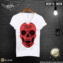 deep v neck red skul tee shirts