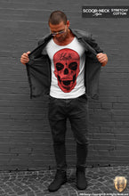 red skull tee shirt scoop neck