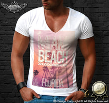 deep v neck miami t-shirt