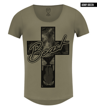 scoop neck lion t-shirt khaki