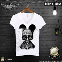 deep v neck skull tee shirts