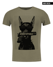 khaki crew neck fashion dog t shirt for men