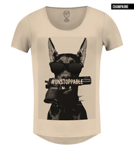 dog gun t-shirt scoop neck beige tee