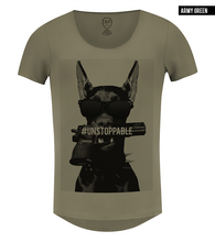 Rottweiler t-shirt khaki scoop neck rb design