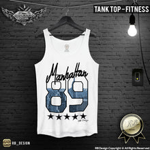 Manhattan 89 Men's T-shirt NYC Empire State Building Tank Top MD625 Blue