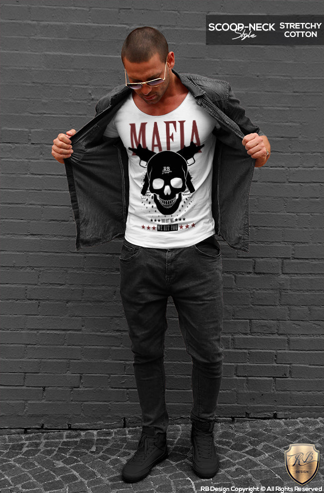 Mens Mafia T Shirt Gangster Skull Uzi Machine Gun MD627 RB Design Store