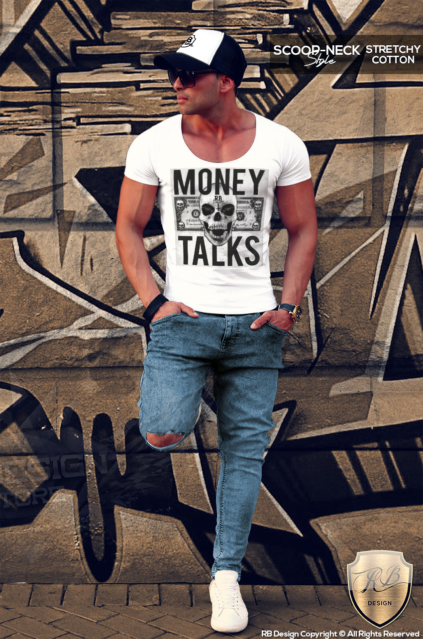 money talks graphic tee scoop neck