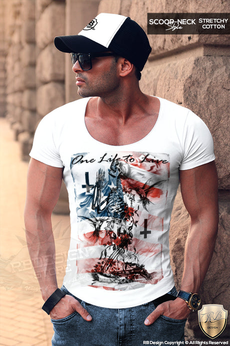 Men's Praying Skeleton T-shirt Trendy Festival Fashion Top MD685