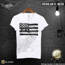 v neck skull flag t-shirt