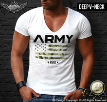 army deep v neck t shirt
