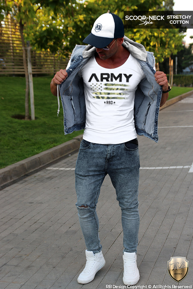 scoop neck army t shirt