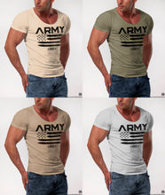 Men's T-shirt ARMY Fashion Khaki Gray Beige Muscle Fit Tees / Color Option / MD711 B
