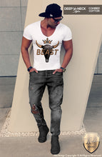 deep v neck abstract skull t shirt