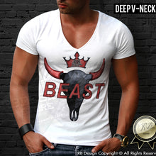 deep v neck Buffalo skull tee