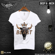 deep v neck bull skull t shirt