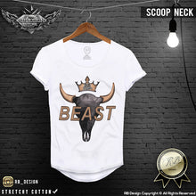scoop neck abstract bison skull tshirt
