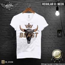 v neck bison skull t-shirt