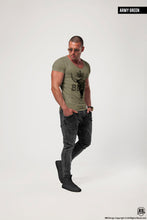 "Men's T-shirt ""BEAST"" Scoop Neck Muscle Tee Khaki Gray Beige / Color Option / MD730"