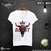 deep v neck abstract Buffalo skull t shirt