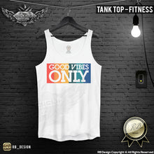 Men's T-shirt Good Vibes Only Wording Summer Beach Tank Top MD738