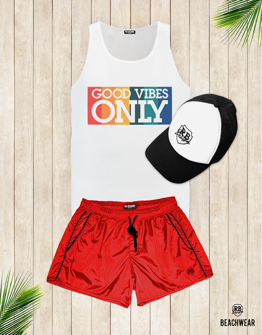 Bundle 3 - RED Beach Shorts + Black Hat + Tank Top MD738