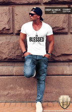 deep v neck mens fashion t shirt