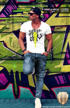 deep v neck mens fashion tee