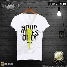 deep v neck fitted shirts
